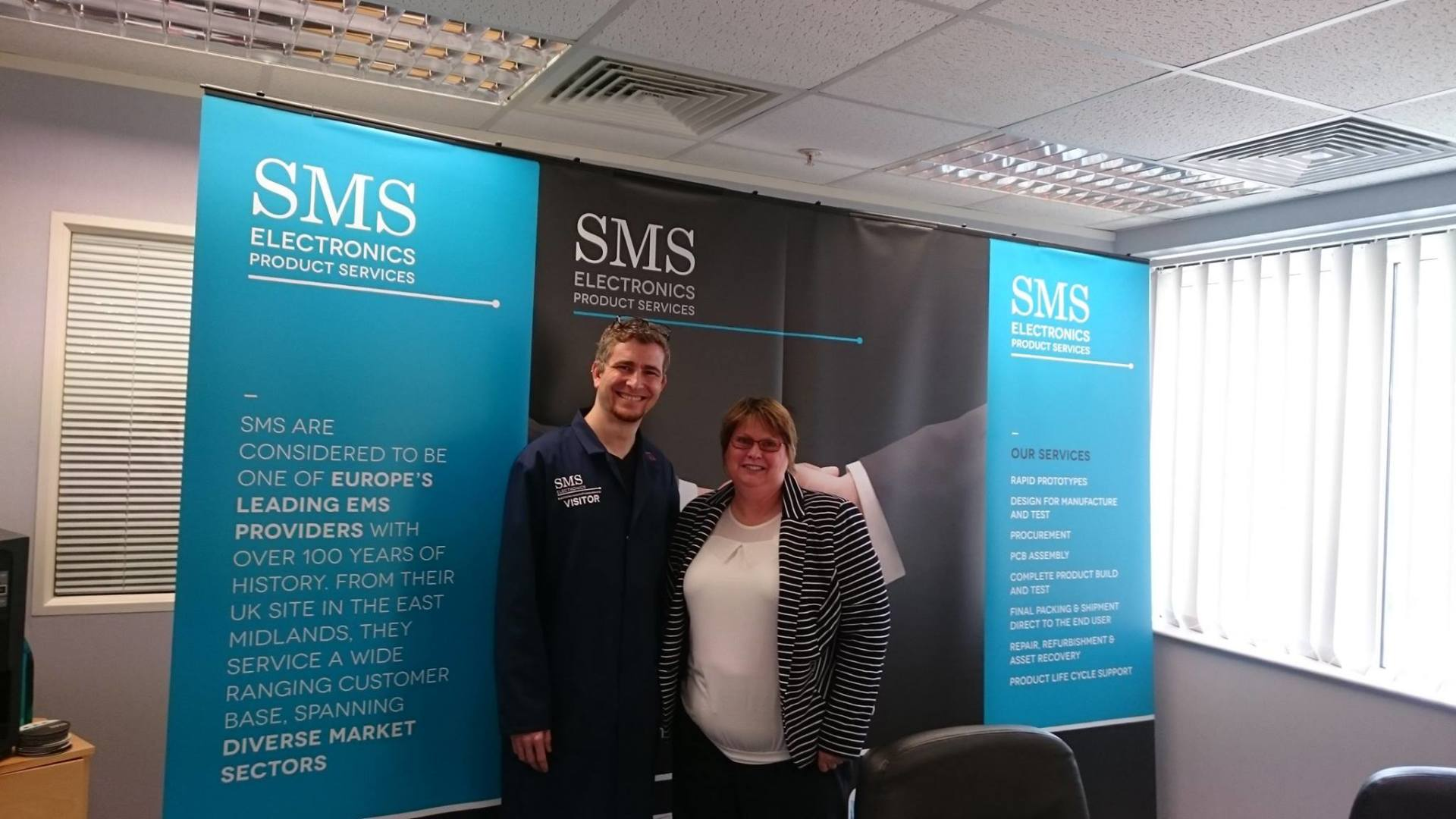 Henrique with Anita Brown, the Business Development Manager at SMS